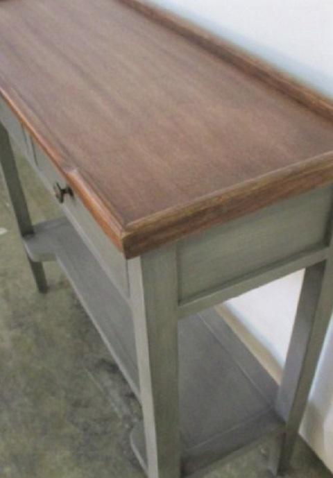 Cottage Small Modern Farm Style Charchol Console Side Table For Sale    Image 3 Of 5