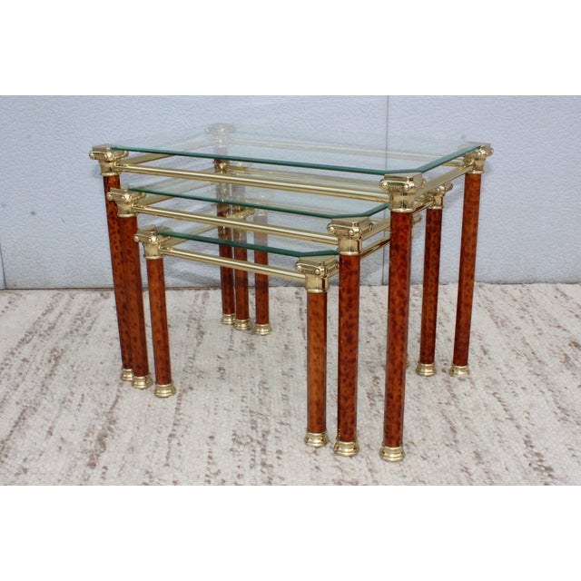 1980s Italian Brass Nesting Tables For Sale In New York - Image 6 of 11