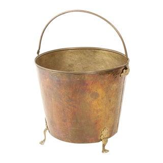 Large Vintage Brass Firewood Bucket For Sale