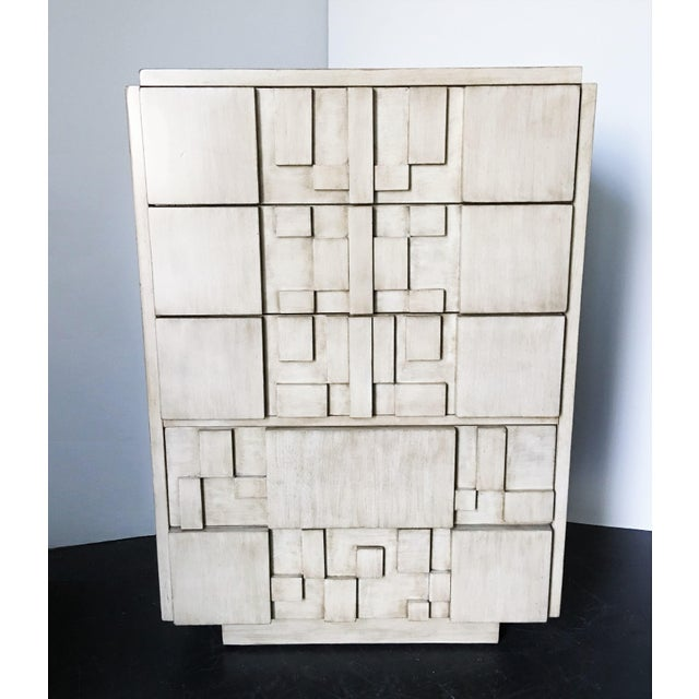 Lane Furniture Brutalist White Finish Tall Cabinet or Chest by Lane For Sale - Image 4 of 9