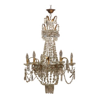 1900s Italian Chandelier With Gold Leaves For Sale