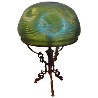 1900s Art Nouveau Loetz Art Glass and Bronze Lamp For Sale
