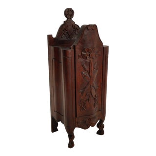 Diminutive French Carved Salt Box Table Cabinet For Sale