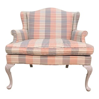 Vintage Queen Anne Wingback Plaid Settee