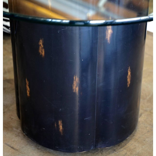 Unusual McGuire Glass Top Metal and Wood Table For Sale - Image 9 of 10