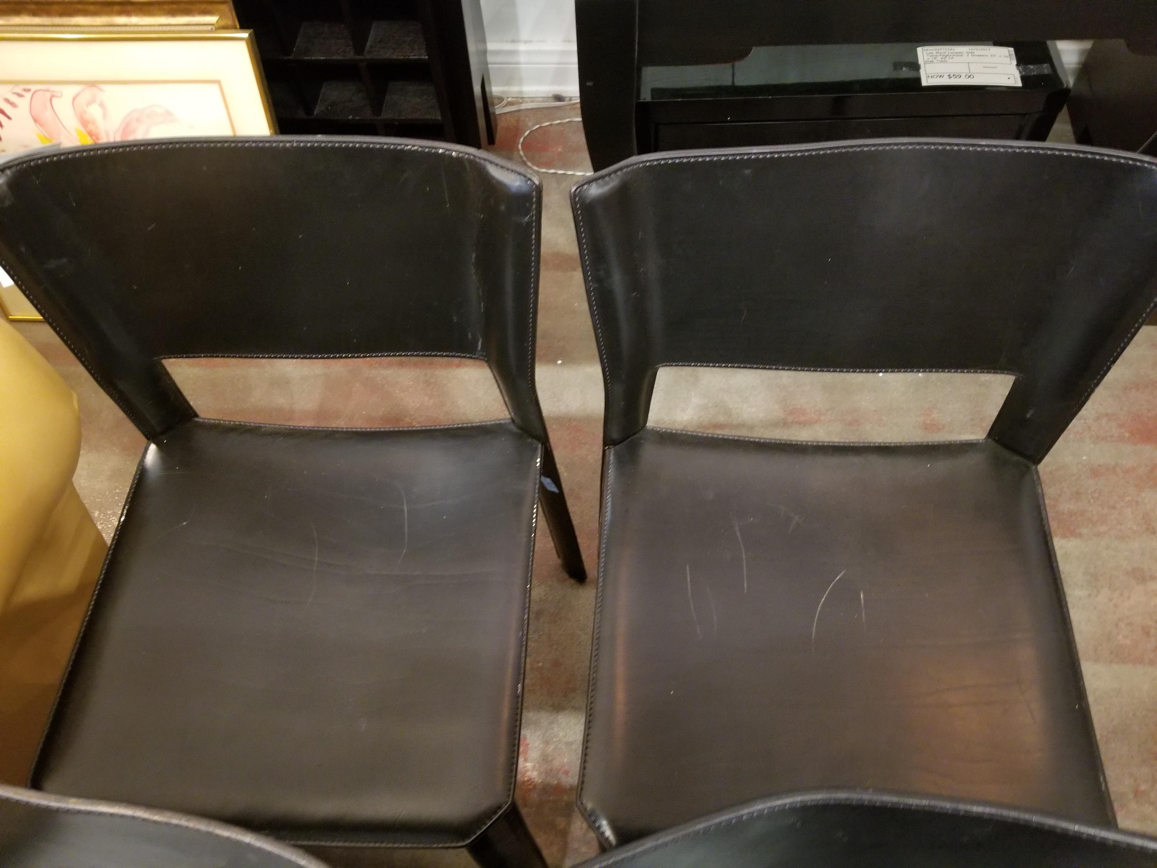 Vintage Italian Leather Chairs   Set Of 5   Image 5 Of 8