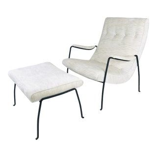 Iron Framed Lounge Chair and Ottoman by Milo Baughman for Pacifica Iron Works - 2 Pieces For Sale
