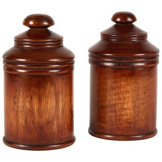 Pair of Wooden Treen Pots With Lids From Late 19th Century England For Sale