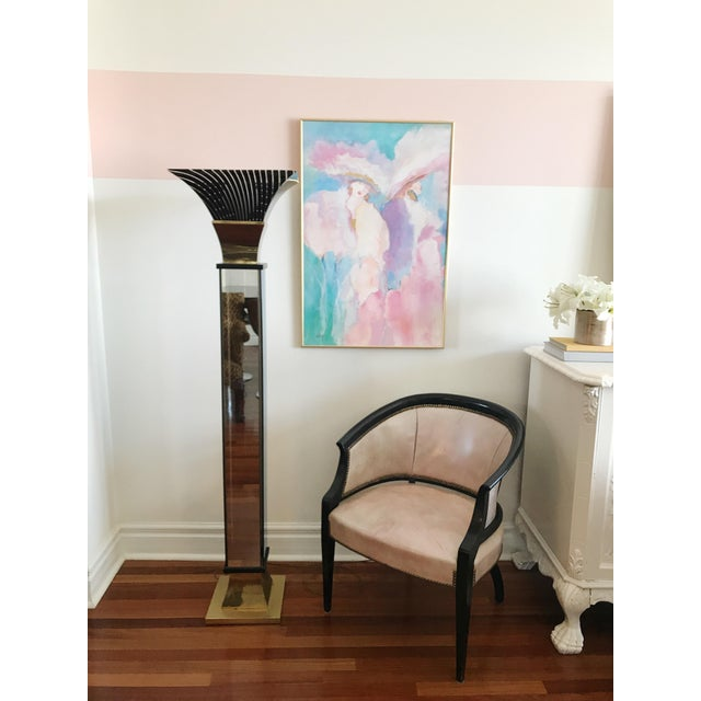 """Incredibly CHIC Vintage Art Deco Brass and Mirrored Glass Floor Lamp. She stands proud and sophisticated at 65""""t x 16""""wide..."""