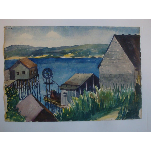 Fabulous midcentury watercolor landscape painting of a deep blue bay harbor or cove inlet built up around wooden work shed...