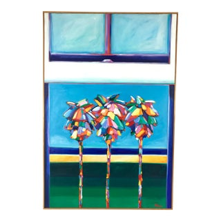 Late 20th Century Bob Bonn 'Open Window View of 3 Palm Park' Oil on Canvas Painting For Sale