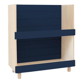 Nico & Yeye Minimo Modern Kids Bookcase in Maple and Deep Blue For Sale