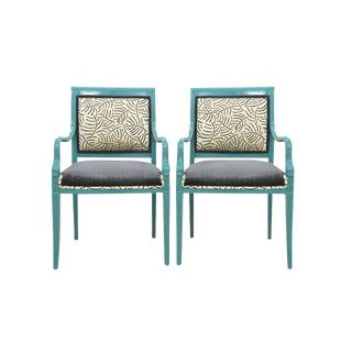 Bunny Williams & Kravet Upholstered Chinoiserie Style Accent Chairs - a Pair
