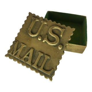 Vintage Brass Postage Stamp Box For Sale