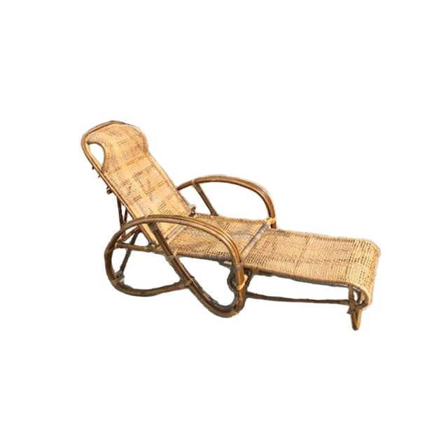 1920s 1920s Vintage Rattan Bamboo Reclining Chaise Lounge For Sale - Image 5 of 5