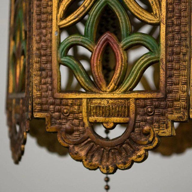 1930's American Polychrome Cast Metal Reticulated Lantern For Sale In Denver - Image 6 of 6