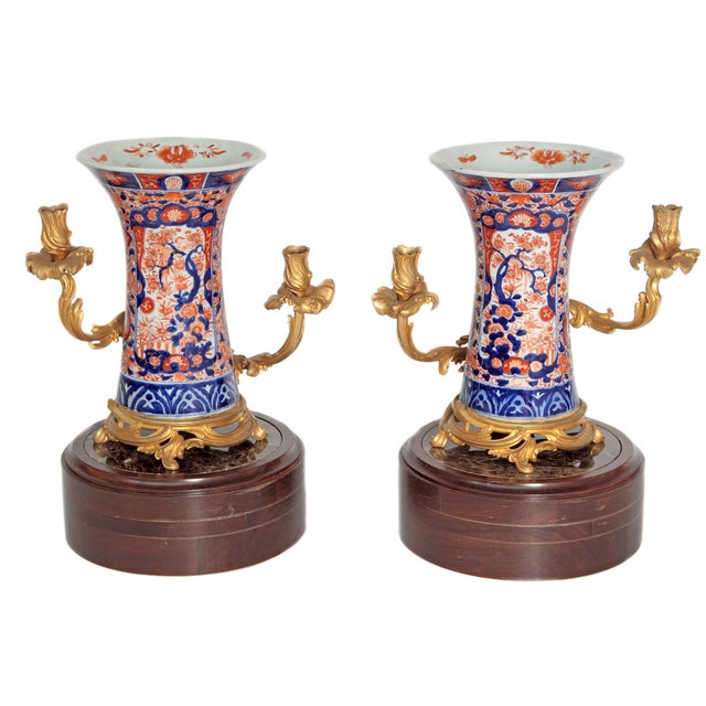 Pair of 19th Century Ormolu Mounted Imari Vases With Mahogany and Marble Stands For Sale - Image 12 of 12