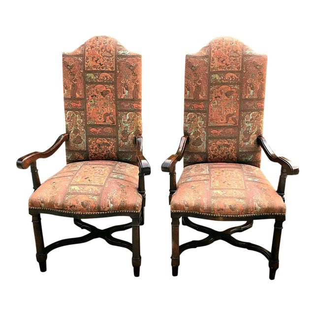 1980s Modern High Back Side Arm Chairs - a Pair For Sale