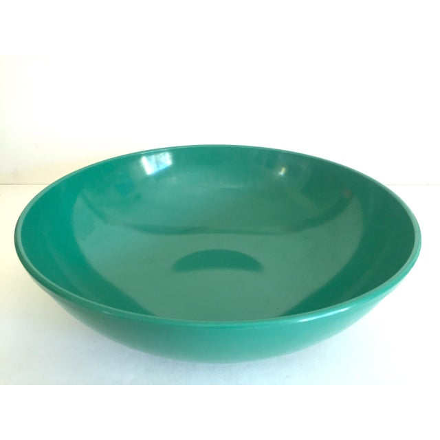This vintage Mid Century Modern melmac melamine extra large teal green round serving bowl is a very special and unique...