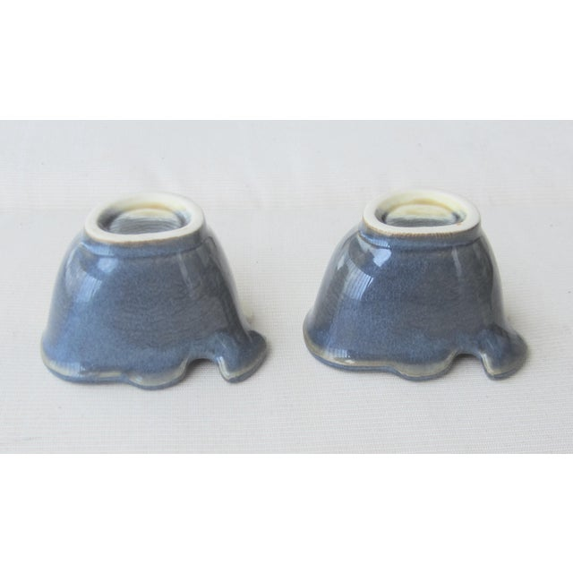 use for condiments or herbs. Blue and tan pottery Hand made fish pottery small bowls