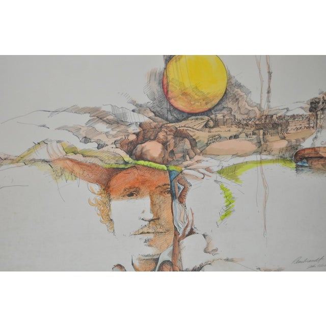 Illustration Rembrandt Fantasy Lithograph w/ Hand Watercolors c.1967 For Sale - Image 3 of 5
