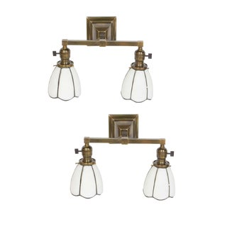 Arts and Crafts Sconces With White Slag Glass Shades - a Pair For Sale
