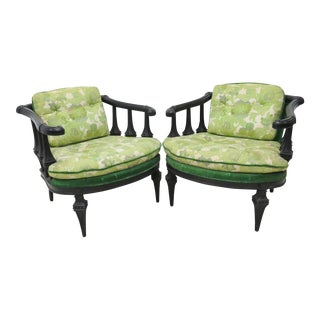 Green Floral Ebonized Carved Club Chairs - A Pair For Sale