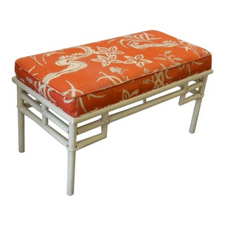 Ficks Reed Rattan Upholstered Bench For Sale