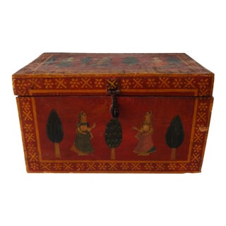 19th-Century Antique Northern Indian Mughal Red Painted Wooden Wedding Chest For Sale