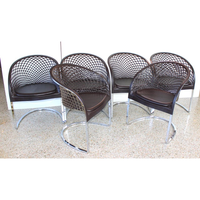 Vintage Mateograssi Dining Chairs in Leather & Chrome - Set of 6 For Sale - Image 13 of 13