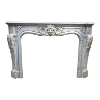 19th Century Louis XIV Style Gray Marble Mantel For Sale