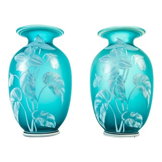Early 20th Century Turquoise Decorative Vases - a Pair For Sale