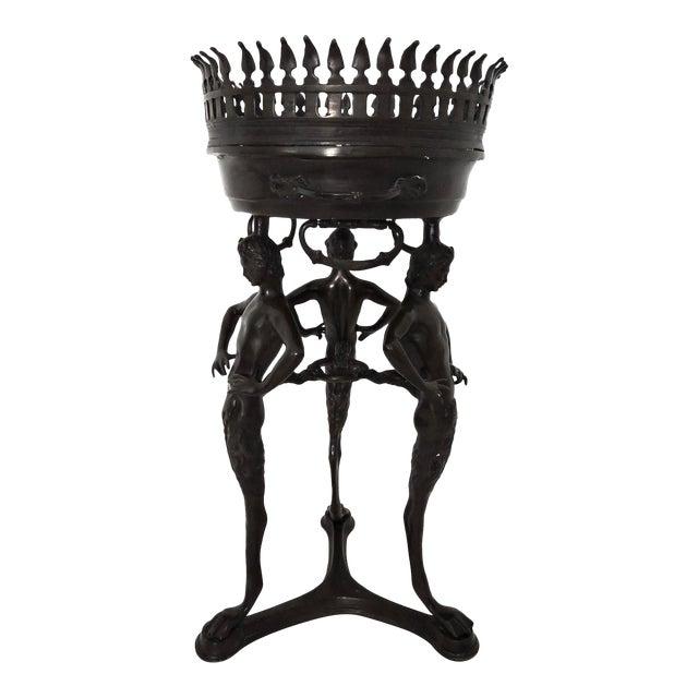 Magnificent Classical Italian Style Bronze 'Satyr' Planter / Brazier For Sale