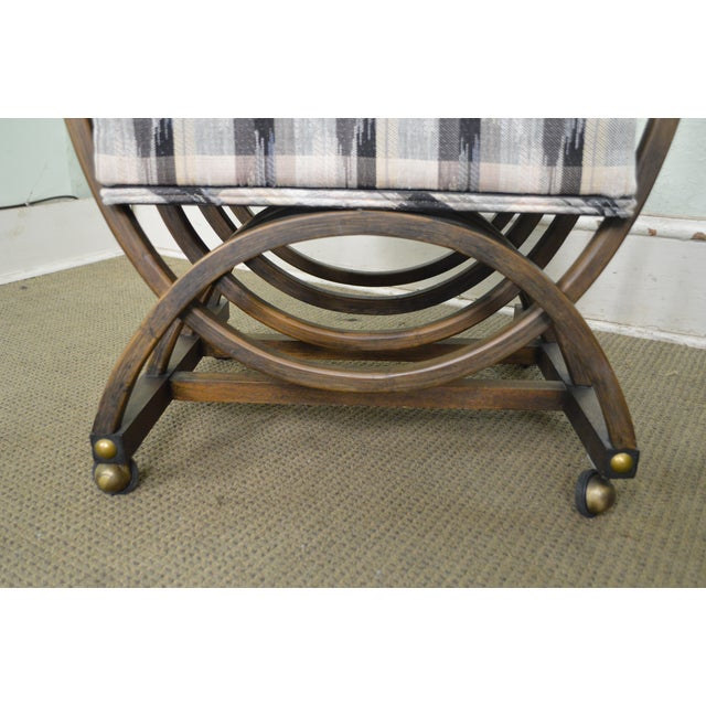 Custom Pair of Mid Century Modern U Shaped Southwest Influenced Bent Wood Lounge Chairs For Sale - Image 4 of 10