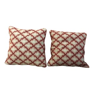 Cranberry Red Trend Forward Throw Pillows - a Pair For Sale