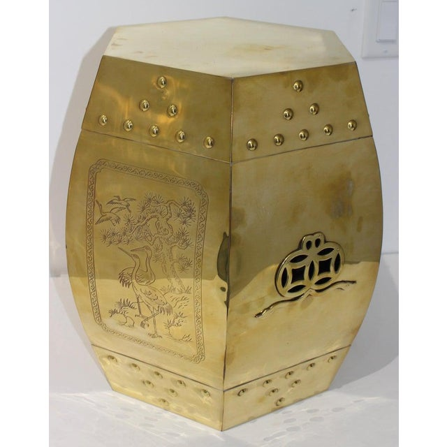 Mid-Century Chinese Brass Garden Seat Stool For Sale In West Palm - Image 6 of 13