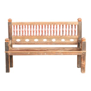 Rustic and Robust Architectural Spindle Teak Bench For Sale