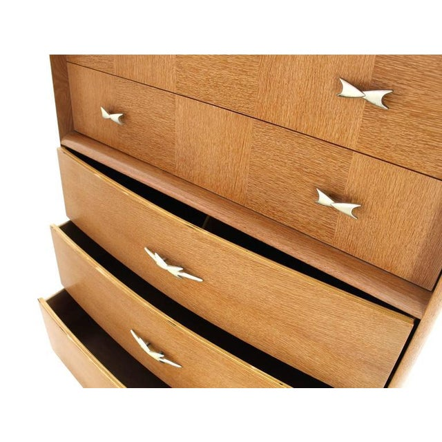 Oak Cerused Oak American Mid-Century Modern High Chest For Sale - Image 7 of 8