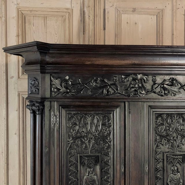 19th Century French Gothic Buffet a Deux Corps ~ Cabinet For Sale - Image 11 of 13