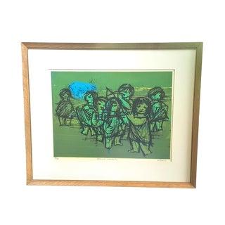 Mid-Century Modern Musical Children Framed Lithograph For Sale
