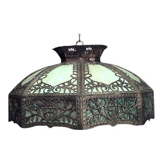 American Victorian Tiffany Style Stained Glass Bronze Shade For Sale