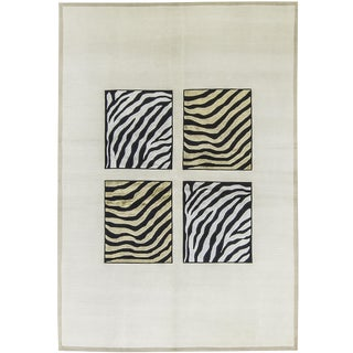 "Contemporary Modern Hand Woven Zebra Rug - 5'6"" X 7'10"" For Sale"