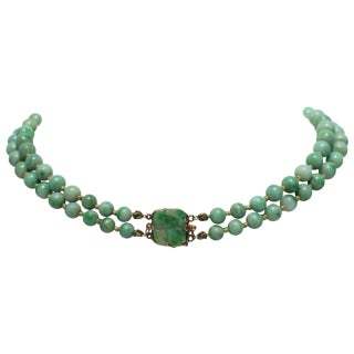 Chinese Jadeite and Gold Necklace, Circa 1940s For Sale