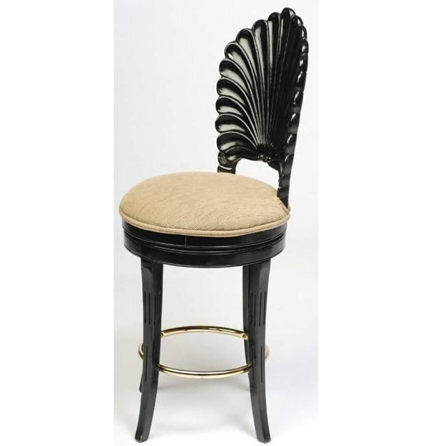 Hollywood Regency Set of Three Italian Carved Shell Back Bar Stools For Sale - Image 3 of 10