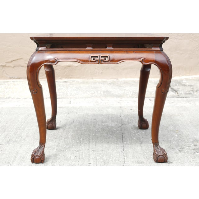"Drexel Heritage Vintage Drexel Heritage ""Ming Treasure"" Square Clawfoot Side Table For Sale - Image 4 of 10"
