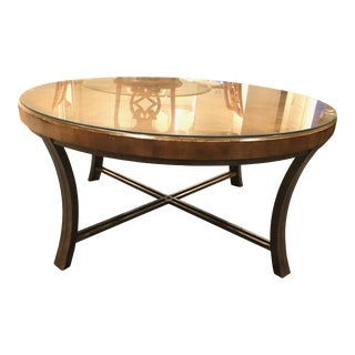 """40"""" Glass Top Wooden Coffee Table"""