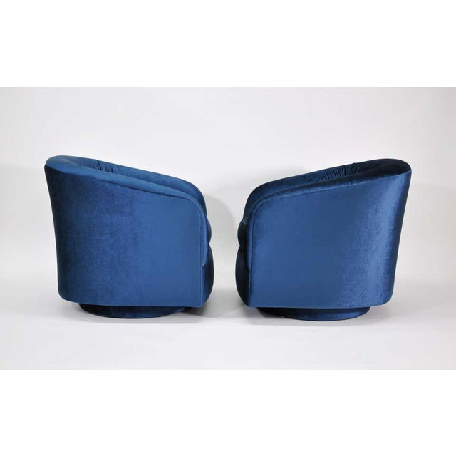 Milo Baughman for Thayer Coggin Blue Velvet Swivel Lounge Chairs - a Pai For Sale In Miami - Image 6 of 9