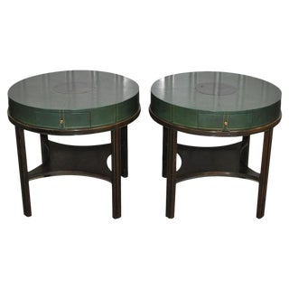 Tommi Parzinger Mid Century Green Leather Side Tables - A Pair