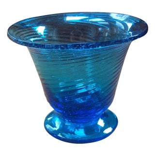 Turquoise Hand Blown Glass Vase For Sale