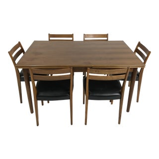 6 Chair Walnut Dining Set by Svegards For Sale